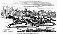 0080106 © Granger - Historical Picture ArchiveHORSE RACING, 1857.   'The deciding heat for the Cesarewitch Stakes, 1857.' Wood engraving, English.