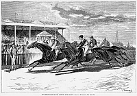 0087217 © Granger - Historical Picture ArchiveHORSE RACING, 1879.   Horce racing at the Brighton Beach Fair Grounds at Coney Island in Brooklyn, New York. Line engraving, American, 1879, after a drawing by Paul Frenzeny.
