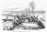 0097846 © Granger - Historical Picture ArchiveSTEEPLECHASE, 1846.   Steeplechase at Newport, England. Wood engraving, 1846.