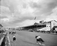 0131328 © Granger - Historical Picture ArchiveNEW ORLEANS: HORSE RACE.   Horses nearing the finish of a race at the Crescent City Jockey Club in New Orleans, Louisiana. Photographed c1906.