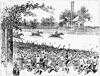 0265881 © Granger - Historical Picture ArchiveNEW YORK: HORSE RACE, 1887.   'The Great 'Suburban' Race on the Course of the Coney Island Jockey Club, at Sheepshead Bay, Brooklyn, June 18,' 1887. Contemporary American engraving.