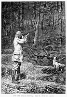 0088238 © Granger - Historical Picture ArchiveBIRD SHOOTING, 1881.   'Ruffed Grouse Shooting in Pennsylvania - a Chance for a Double.' Wood engraving, 1881, after Arthur Burdett Frost.