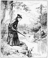 0088402 © Granger - Historical Picture ArchiveFEMALE HUNTER, 1883.   'Miss Diana in the Adirondacks - a Shot across the Lake.' Wood engraving, American, after W.A. Rogers, 1883.