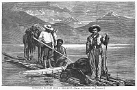 0096172 © Granger - Historical Picture ArchiveBEAR HUNT, 1875.   A group of bear hunters returning to their camp in the Rocky Mountains. Wood engraving, American, 1875.