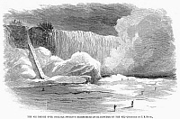 0096193 © Granger - Historical Picture ArchiveNIAGARA FALLS, 1866.   Duck hunters on the ice bridge at Niagara Falls. Wood engraving, American, 1866.