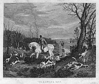 0096235 © Granger - Historical Picture ArchiveENGLAND: FOX HUNT, 1833.   'Throwing Off.' Line engraving, English, 1833.