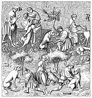 0101344 © Granger - Historical Picture ArchiveHUNTING DOGS, 14th CENTURY.   Caring for hunting dogs. Line engraving after a minuature from the 'Book of the Hunt' by Gason Phoebus, 14th century.