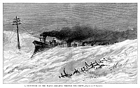 0264534 © Granger - Historical Picture ArchiveGREAT PLAINS: SNOW, 1882.   'A Snow-Storm on the Plains - Breaking Through the Drifts.' Wood engraving, American, 1882.