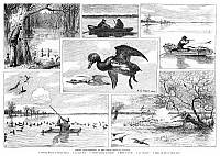 0264625 © Granger - Historical Picture ArchiveDUCK HUNTING, 1885.   'Spring Duck-Shooting in the West.' Engraving after drawings by A.B. Frost, American, 1885.