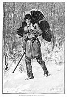 0264629 © Granger - Historical Picture ArchiveTURKEY HUNTER, 1884.   'In Luck.' A successful hunter with a turkey. Engraving, American, 1884.