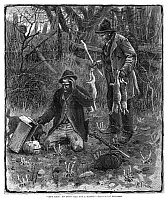 0264896 © Granger - Historical Picture ArchiveAPRIL FOOL'S DAY, 1880.   'Gret King! Yo' Don't Call Dat A Rabbit?' Two trappers discovering an April Fool's Day prank. Engraving, American, 1880.