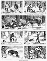 0264917 © Granger - Historical Picture ArchiveCANADA: FRONTIERSMEN, 1880.   'Sketches in British Columbia,' depicting frontiersmen hunting and camping. Engraving, American, 1880.