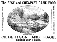 0370703 © Granger - Historical Picture ArchiveAD: GAME FOOD, 1887.   English magazine advertisement for Gilbertson and Page game food, 1887.