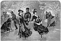 0056880 © Granger - Historical Picture ArchiveICE SKATING, 1877.   An elegant skating party in Central Park, New York City. Wood engraving from an American newspaper of 1877.