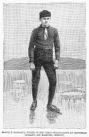 0097912 © Granger - Historical Picture ArchiveICE SKATER, 1880.   Joseph Donoghue, champion amateur skater. Line engraving, American, 1880.