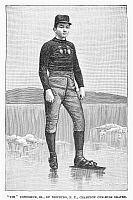 0097913 © Granger - Historical Picture ArchiveICE SKATER, 1880.   Tim Donoghue, Jr., of Newburgh, New York, champion one-mile skater. Line engraving, 1880.