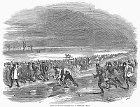 0097916 © Granger - Historical Picture ArchiveENGLAND: ICE SKATING, 1850.   Ice skating race on the Whittlesea Mere, England. Wood engraving, 1850.