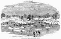 0097919 © Granger - Historical Picture ArchiveENGLAND: ICE SKATING, 1855.   Skating in the grounds of the Crystal Palace, Sydenham, England. Wood engraving, 1855.