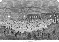 0097921 © Granger - Historical Picture ArchiveNEW YORK: ICE SKATING.   Skating by night in Central Park, New York City. Line engraving, English, 1865.