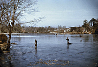 0118651 © Granger - Historical Picture ArchiveICE SKATING, c1940.  People ice skating, with one person who has fallen, on a lake in the vicinity of Brockton, Massachusetts. Photographed by Jack Delano, c1940.