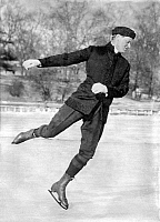 0118658 © Granger - Historical Picture ArchiveIRVING BROKAW (1871-1939).   Isaac Irving Brokaw, American figure skater, artist, lawyer, skating on a lake. Photograph, c1915.