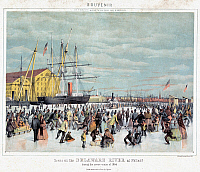 0118903 © Granger - Historical Picture ArchiveICE SKATERS, c1856.   A scene with people ice skating on the Delaware River, possibly near the Philadelphia Navy Yard, during the coldest winter on record at the time, of 1856. Color lithograph, c1856.