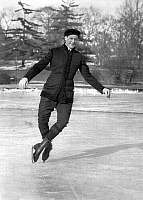 0118906 © Granger - Historical Picture ArchiveIRVING BROKAW (1871-1939).   The champion ice skater Irving Brokaw doing a double toe pirouette on Central Park Lake, New York City. Photograph, 1908-1916.