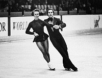 0171871 © Granger - Historical Picture ArchiveICE DANCERS, 1975.   American ice dancing couple Colleen O'Connor and Jim Millns performing at the U.S. Figure Skating Championships in Oakland, California, where they repeated as champions, January 1975.
