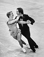 0171873 © Granger - Historical Picture ArchiveICE DANCERS, 1975.   American ice dancing couple Colleen O'Connor and Jim Millns performing at the World Figure Skating Championships in Colorado Springs, Colorado, where they would receive the silver medal, 6 March 1975.