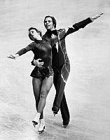 0171874 © Granger - Historical Picture ArchiveICE DANCERS, 1975.   American ice dancing couple Colleen O'Connor and Jim Millns performing at the World Figure Skating Championships in Colorado Springs, Colorado, where they would receive the silver medal, 7 March 1975.