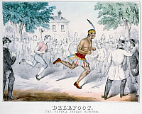 0260632 © Granger - Historical Picture ArchiveFOOT RACE, c1861.   'Deerfoot, The Seneca Indian Runner in One of His Celebrated Matches.' Lithograph, c1861