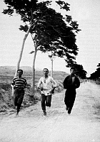 0035584 © Granger - Historical Picture ArchiveOLYMPIC GAMES, 1896.   Three participants in the marathon race in the first modern Olympic Games at Athens, Greece, 1896. At the center is the Greek runner Harilaos Vassilakos, who finished second to his teammate Spyridon Louis.