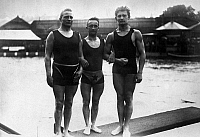 0116925 © Granger - Historical Picture ArchiveOLYMPIC GAMES, 1912.   Three swimmers at the 5th Olympic Games, held in Stockholm, Sweden, 1912.