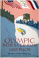 0116941 © Granger - Historical Picture ArchiveOLYMPIC GAMES POSTER.   'Olympic Bobsled Run, Lake Placid. Up Where Winter Calls to Play.' American Olympic poster promoting winter sports. Poster ran from 1936 to 1938 for the Works Progress Adminstration's Federal Arts Project.