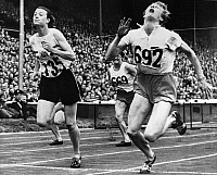 0170350 © Granger - Historical Picture ArchiveOLYMPIC GAMES, 1948.   Fanny Blankers-Koen of the Netherlands (right) and Maureen Gardner (left) of England finishing the 80 meter hurdle event at Wembley Stadium, London, England, 4 August 1948.