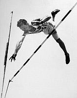 0170559 © Granger - Historical Picture ArchiveBOB RICHARDS (1926- ).   Robert Eugene Richards. American athlete. Richards competing in the pole vault event at the 1952 Summer Olympics in Helsinki, Finland.