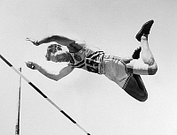 0170565 © Granger - Historical Picture ArchiveBOB RICHARDS (1926- ).   Robert Eugene Richards. American athlete. Richards competing in the qualifying round of the pole vault event at the 1952 Summer Olympics in Helsinki, Finland.