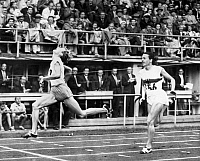 0170583 © Granger - Historical Picture ArchiveSUMMER OLYMPICS, 1952.   Fanny Blankers-Koen of the Netherlands beating Marga Petersen of Germany in the 11th heat of the 100 meter dash event in the 1952 Summer Olympics in Helsinki, Finland.
