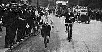 0174999 © Granger - Historical Picture ArchiveDORANDO PIETRI (1885-1942).   Italian athlete. Photographed while running the marathon at the 1908 Olympic Games.