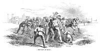0354062 © Granger - Historical Picture ArchiveENGLAND: RUGBY, 1845.   Rugby version of football played at Rugby School in England, 1845. Contemporary English wood engraving.