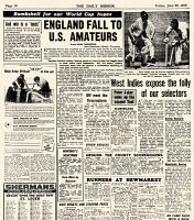 0131253 © Granger - Historical Picture ArchiveWORLD CUP HEADLINES, 1950.   Page of 'The Daily Mirror,' reporting the English soccer team's loss to the United States during the 1950 World Cup, held in Brazil.