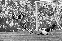 0131292 © Granger - Historical Picture ArchiveSOCCER: WORLD CUP, 1970.   Pelé scores Brazil's first goal against Italy during the 1970 World Cup, held in Mexico.