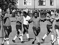 0131309 © Granger - Historical Picture ArchiveSOCCER PRACTICE, 1966.   The Brazilian soccer team practicing for the 1966 World Cup tournament in England. Pelé is third from right.