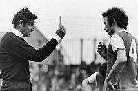 0131444 © Granger - Historical Picture ArchiveSOCCER: YELLOW CARD, 1977.   John Matthews of Arsenal FC receives a yellow card for a foul against Middlesbrough by referee Jack Taylor, 7 May 1977.