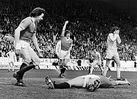 0131452 © Granger - Historical Picture ArchiveENGLAND: SOCCER GAME, 1977.   Stuart Peterson (left) and Steve Coppell of Manchester United FC congratulate Jimmy Greenhoff (on ground) for scoring the first goal against Leeds United during the FA Cup semi-final game, 1977. Frank Gray (right) of Leeds United holds his head.