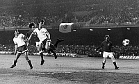 0131473 © Granger - Historical Picture ArchiveSOCCER: CUP WINNERS' CUP.   Scottish soccer player Willie Johnston of the Rangers FC scores a goal against the Moscow Dynamo as teammate Alex MacDonald looks on, during the Cup Winners' Cup, 24 May 1972.