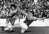 0131517 © Granger - Historical Picture ArchiveENGLAND: SOCCER MATCH, 1976.   Keith Coleman (right) of West Ham United tackles Brian Talbot of Ipswich Town during a soccer match, 16 October 1976.