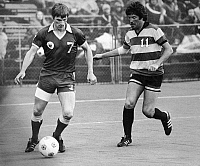 0131540 © Granger - Historical Picture ArchiveSOCCER MATCH, 1977.   Stewart Scullion (left), playing for the Portland Timbers against Gordon Fearney of the Fort Lauderdale Strikers, 1977.