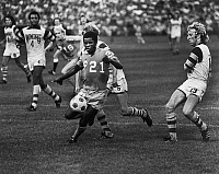 0131541 © Granger - Historical Picture ArchiveADE COKER (1954- ).   Nigerian American soccer player. Photographed while playing for the Minnesota Kicks in a game against the Fort Lauderdale Strikers, c1977.