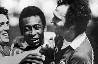 0131542 © Granger - Historical Picture ArchivePELE & BECKENBAUER, c1977.   New York Cosmos teammates Pele and Franz Beckenbauer (right). Photograph, c1977.